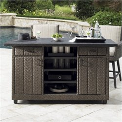 Tommy Bahama Home Blue Olive Weatherstone Top Wicker Bar