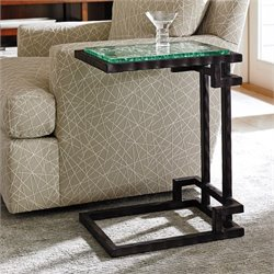 Tommy Bahama Island Fusion Hermes Reef Glass Accent Table in Black