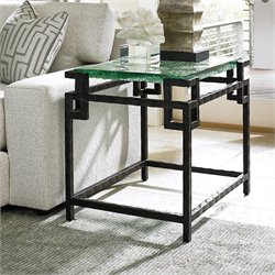 Tommy Bahama Island Fusion Hermes Reef Glass End Table in Black
