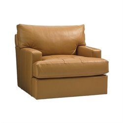 Tommy Bahama Island Fusion Osaka Leather Swivel Chair in Supple Saddle