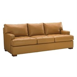 Tommy Bahama Island Fusion Osaka Leather Sofa in Supple Saddle