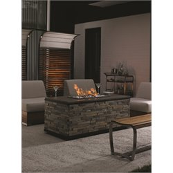 Tommy Bahama Tres Chic Patio Gas Fire Pit in Soft Gray