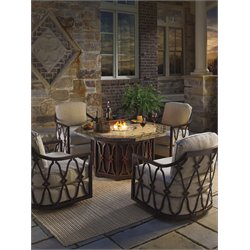 Tommy Bahama Black Sands Patio Gas Fire Pit in Light Emperador