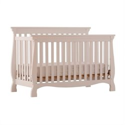 4-in-1 Fixed Side Convertible Crib in White