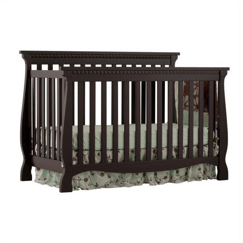 4-in-1 Fixed Side Convertible Crib in Black