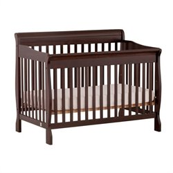 4-in-1 Fixed Side Convertible Crib in Espresso