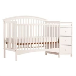 Stork Craft Bradford 4-in-1 Fixed Side Convertible White Crib Changer
