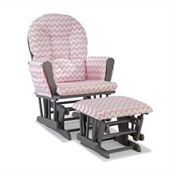 Custom Glider and Ottoman in Pink and Gray