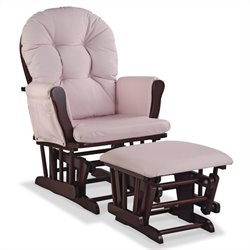 Custom Glider and Ottoman in Cherry and Pink Blush
