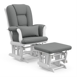 Custom Glider and Ottoman in White and Grey