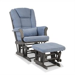 Custom Glider and Ottoman in Gray and Blue