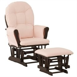 Custom Glider and Ottoman in Espresso and Pink