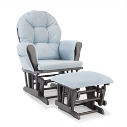 Custom Glider and Ottoman in Gray and Light Denim