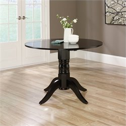 Round Drop Leaf Dining Table in Black