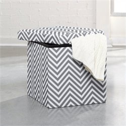 Storage Ottoman in White and Grey Chevron
