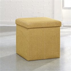 Upholstered Storage Ottoman in Sisal Basket Weave