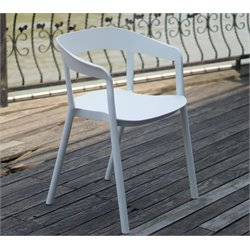 Vifah European Back Slim Arm Dining Chair in White