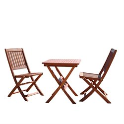 Patio 3 Piece Folding Bistro Set with Folding Chairs