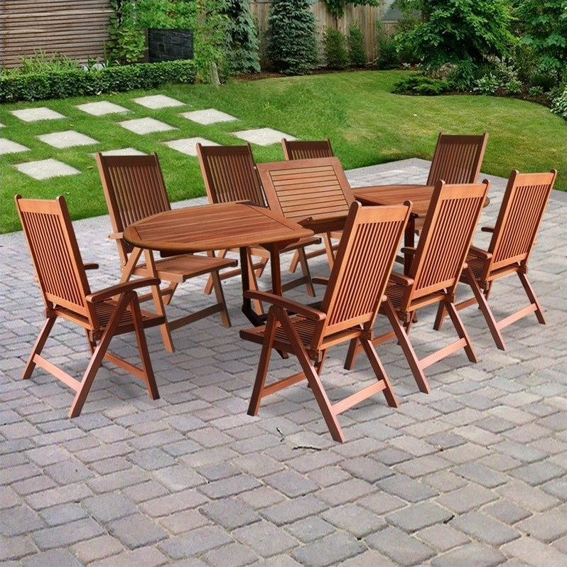 and outdoor furniture patio dining sets 9 piece wood patio dining set