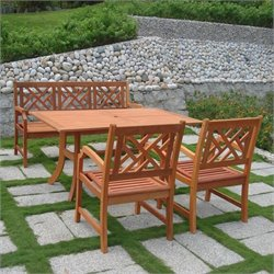 Atlantic 4 Piece Wood Patio Dining Set
