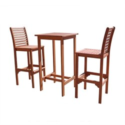 Dartmoor 3 Piece Wood Patio Dining Set