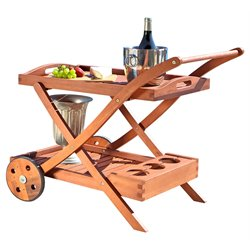 Hardwood Serving Cart with Wheels