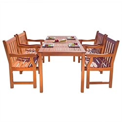 Balthazar 5 Piece Wood Patio Dining Set