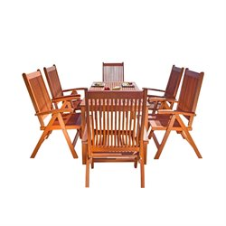 7 Piece Wood Patio Dining Set
