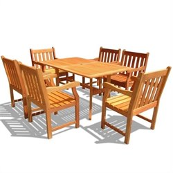 Atlantic 7 Piece Wood Patio Dining Set