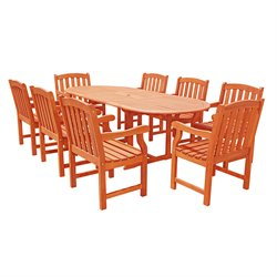 9 Piece Wood Patio Dining Set