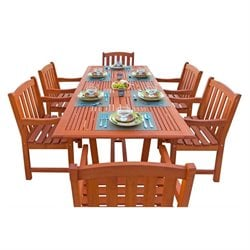 Airblade 7 Piece Wood Patio Dining Set