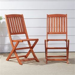 Outdoor Wood Folding Bistro Chairs (Set of 2)