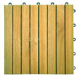 Plantation Teak Interlocking Deck Tile - 8 Slats