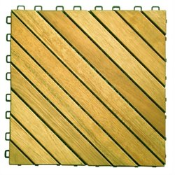 Plantation Teak Interlocking Deck Tile - 12 Slats