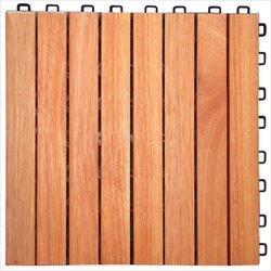 Vifah FSC Eucalyptus Interlocking 8 Slats Deck Tile  (Set of 10)