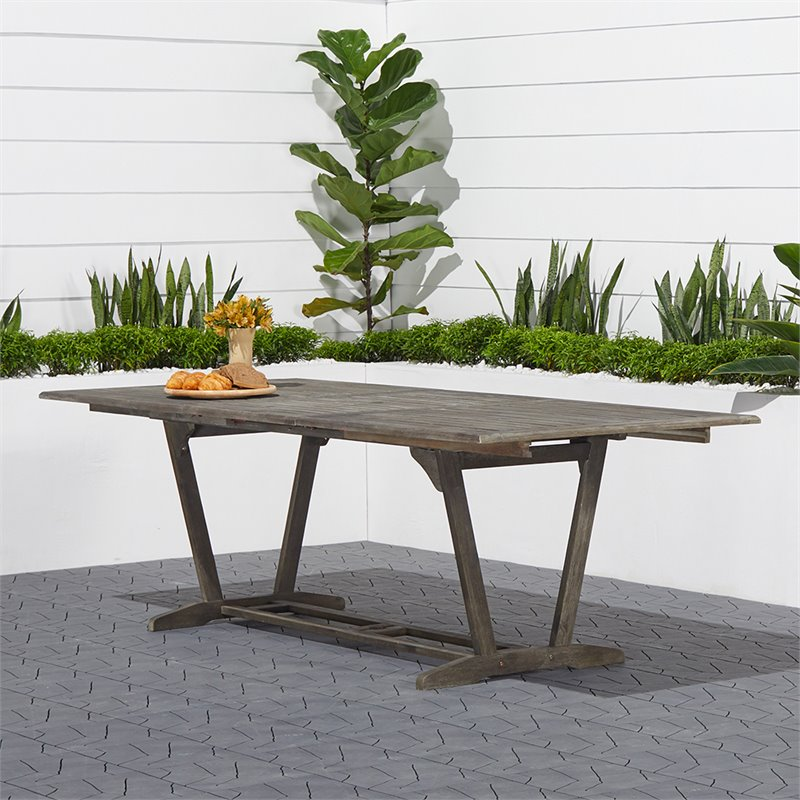 extendable patio dining table in natural v1294