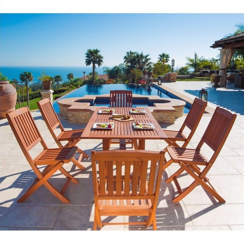 7 piece wood patio dining set v189set7