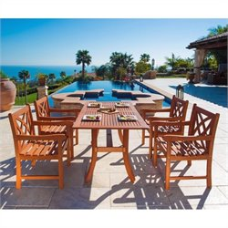 5 Piece Wood Patio Dining Set