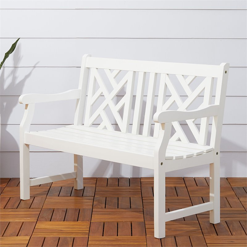 Outdoor bench in white v1631