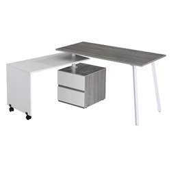 Techni Mobili Rotating Modular Computer Desk in Gray