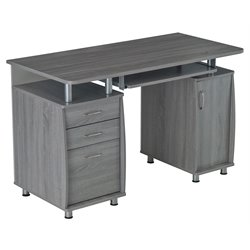 Techni Mobili Complete Workstation Computer Desk in Gray