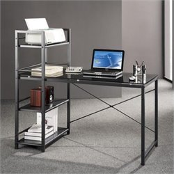 Tempered Glass Laptop Desk in Black and Smokey Grey