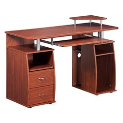 Techni Mobili Atea Wood Computer Desk in Mahogany