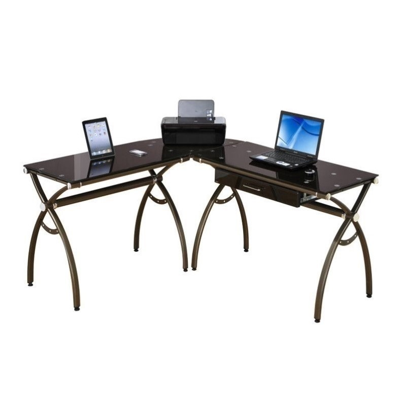 L-Shaped Computer Desk in Chocolate