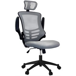 Executive High Back Office Chair with Headrest in Silver Grey