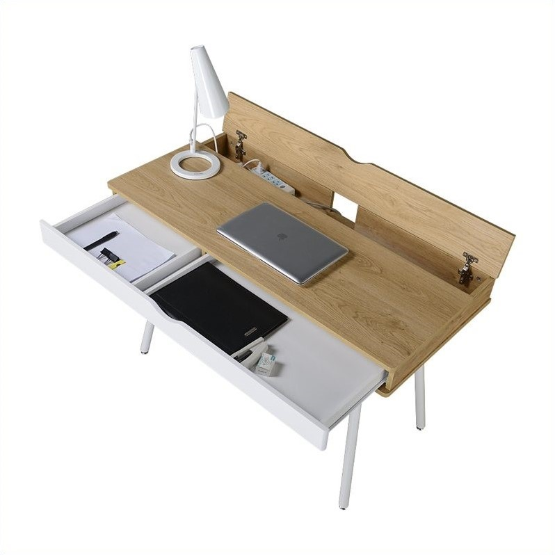 Techni Mobili Workstation with Cord Management and Storage in Pine
