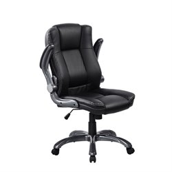 Medium Back Manager Chair with Flip-up Arms in Black
