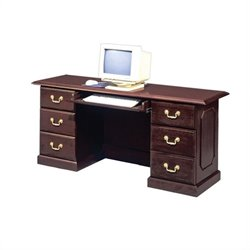 DMi Governors Wood Credenza Desk with CPU Tower in Mahogany
