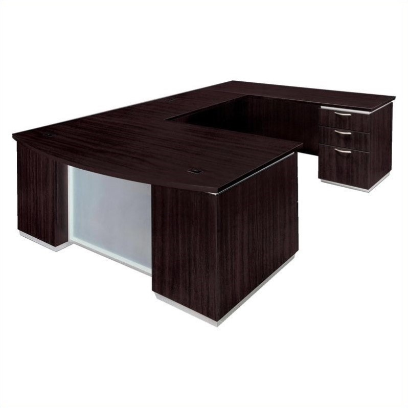 DMi Furniture Pimlico Laminate Executive Right Bow Front U-Shaped Desk (Assembled)