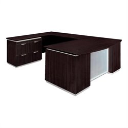 DMi Pimlico Left Lateral File Bow Front U-Shape Wood Desk (Assembled)